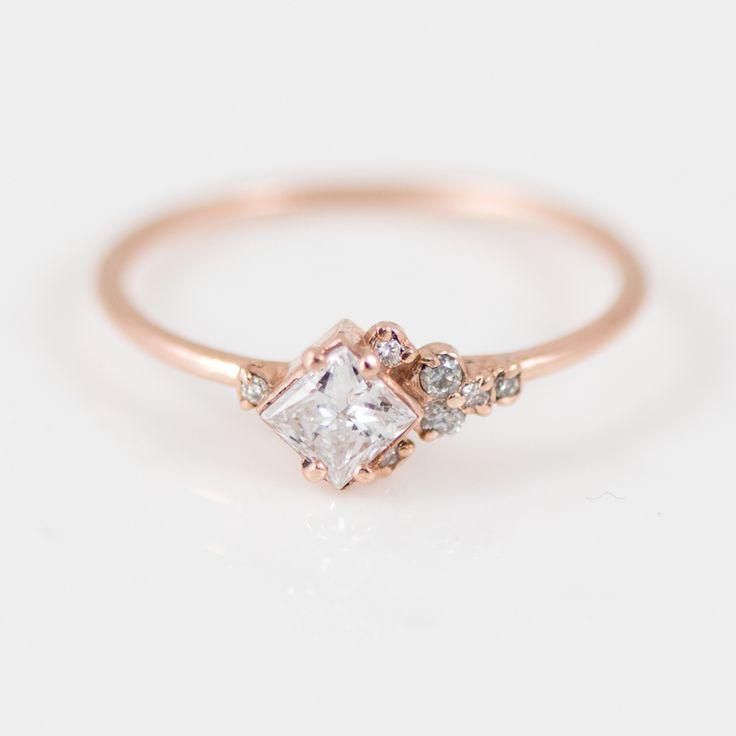 Princess Cut White Diamond Mini Cluster Ring in 14k Gold by jewelry artisan Melanie Casey