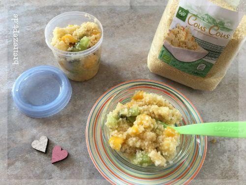 Ein süßer Couscous Babybrei mit Kiwi, Banane und Mango eignet sich prima als Nachmittagsbrei für das Baby. Auch unpüriert als Couscous-Obstsalat ein Genuss