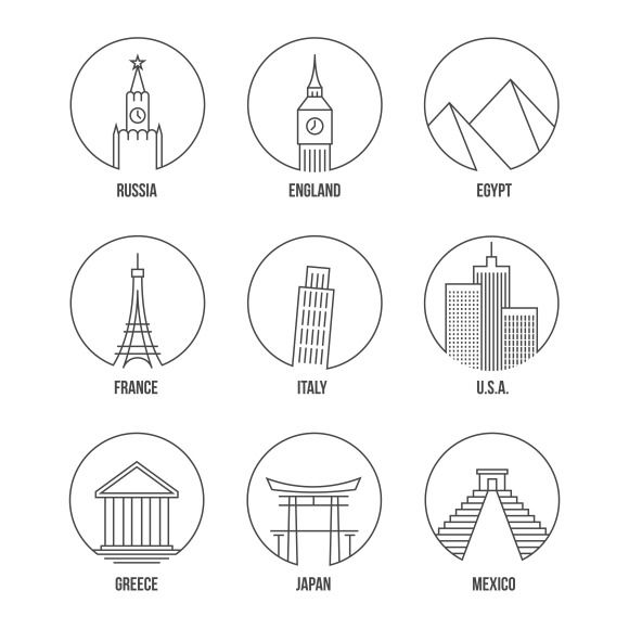 World landmark line art icons set by Microvector on Creative Market – D. M.