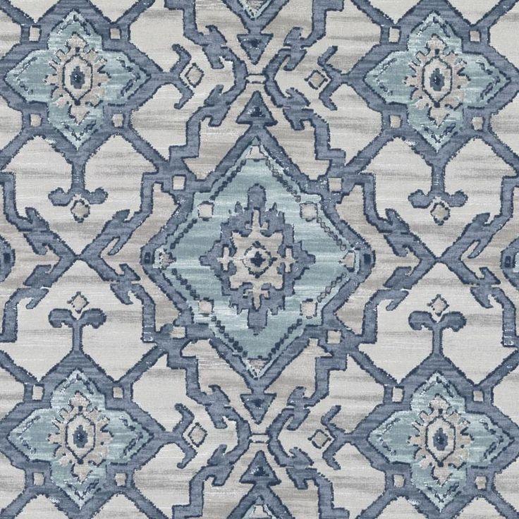 Navy Blue and Aqua Ikat Upholstery Fabric Grey by PopDecorFabrics