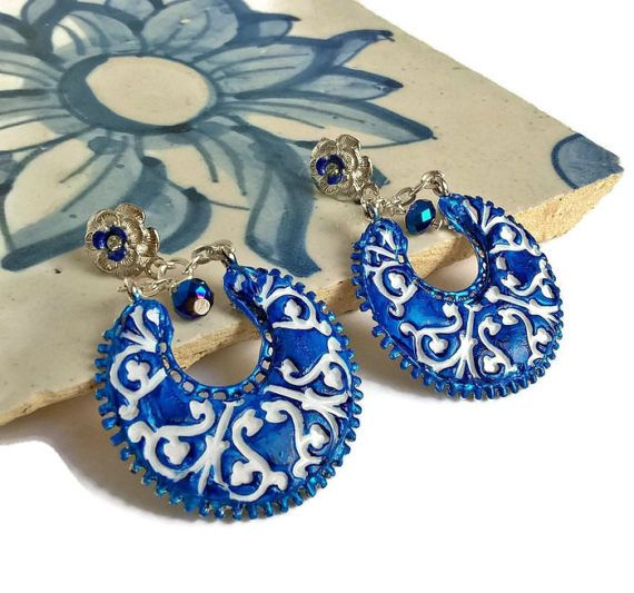 Ceramic Portugueses tile earrings clay earrings ceramic by XTory