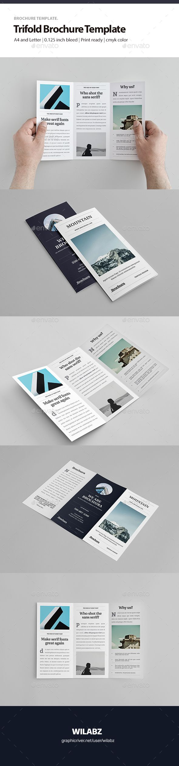 Trifold Brochure Template — InDesign INDD #a4 #brochure template • Download ➝ https://graphicriver.net/item/trifold-brochure-template/19036529?ref=pxcr