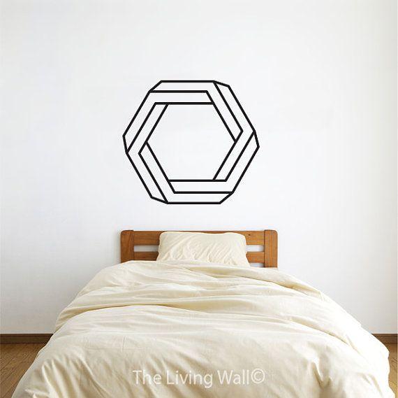 Decalcomanie da muro geometrica esagonale, geometriche forme vinile, adesivi murali di oggettistica per la casa, geometrica in vinile adesivi murali Decal