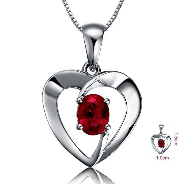Beautiful Solitaire Ruby Pendant on 10k White Gold