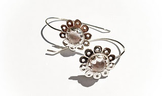 Silver Daisy Mae Drop Earrings with Rose Cut Pink Amethysts