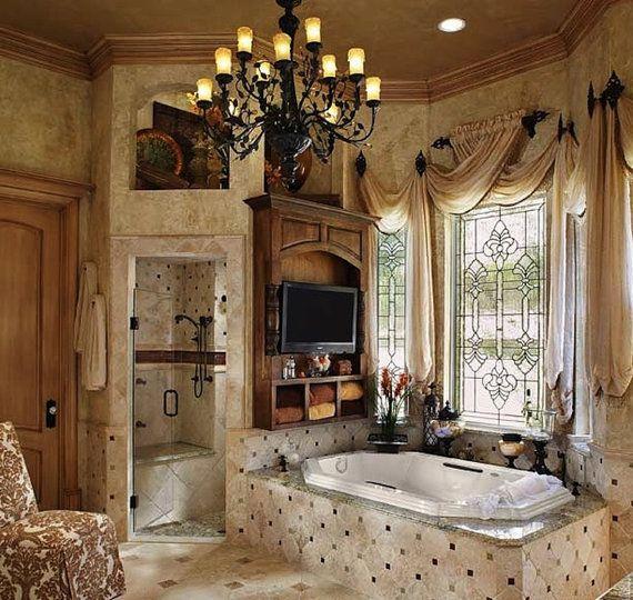 Window curtains - Custom made - window curtains - window valances - window curtain panels - interior design. Love this bathroom.