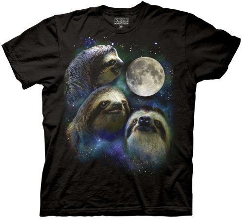Three Wolf Moon Shirt Parody - Three Sloth Moon Shirt - 100% Cotton Adult T-Shirt Tee, Black, Small Ripple Junction,http://www.amazon.com/dp/B00CX9SMWO/ref=cm_sw_r_pi_dp_7Fpqsb0J6ZK8FFER