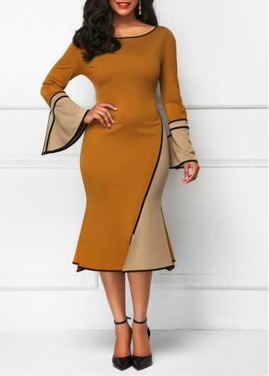 Round Neck Flare Sleeve Patchwork Dress on sale only US$32.19 now, buy cheap Round Neck Flare Sleeve Patchwork Dress at Rosewe.com