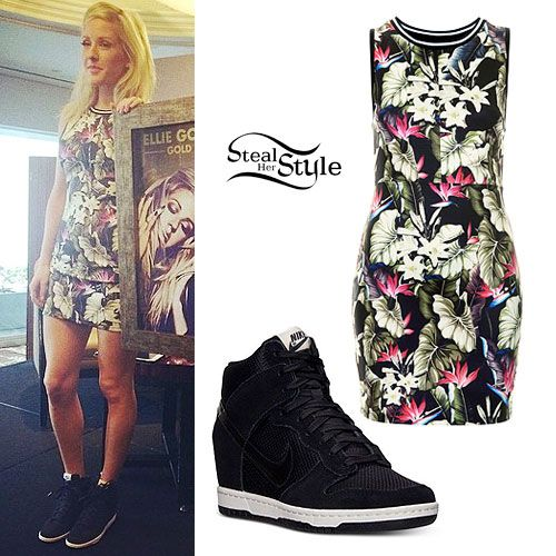 Ellie Goulding: Tropical Print Dress, Nike Wedges Great dress, but maybe with white sandals, no?
