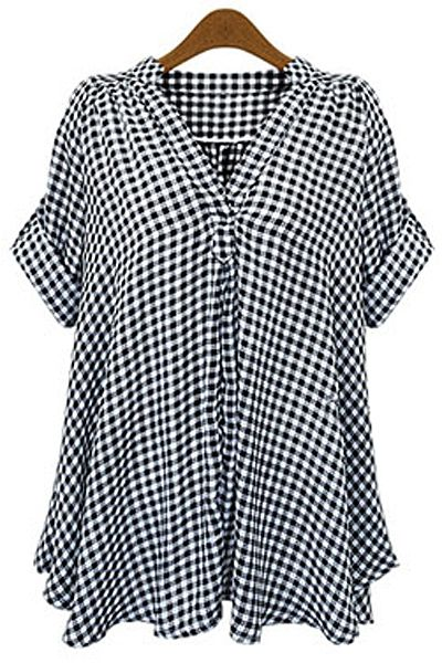 V-Neck Checked Blouse