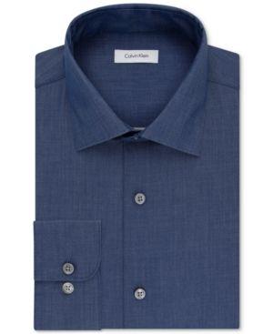 Calvin Klein Steel Men's Classic-Fit Non-Iron Performance Dress Shirt - Blue 1