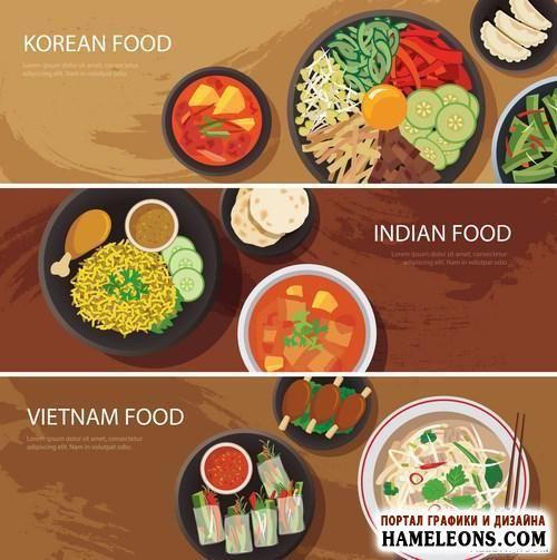 Вкусная еда - баннеры, меню, иконки в векторе | A set of varieties of food