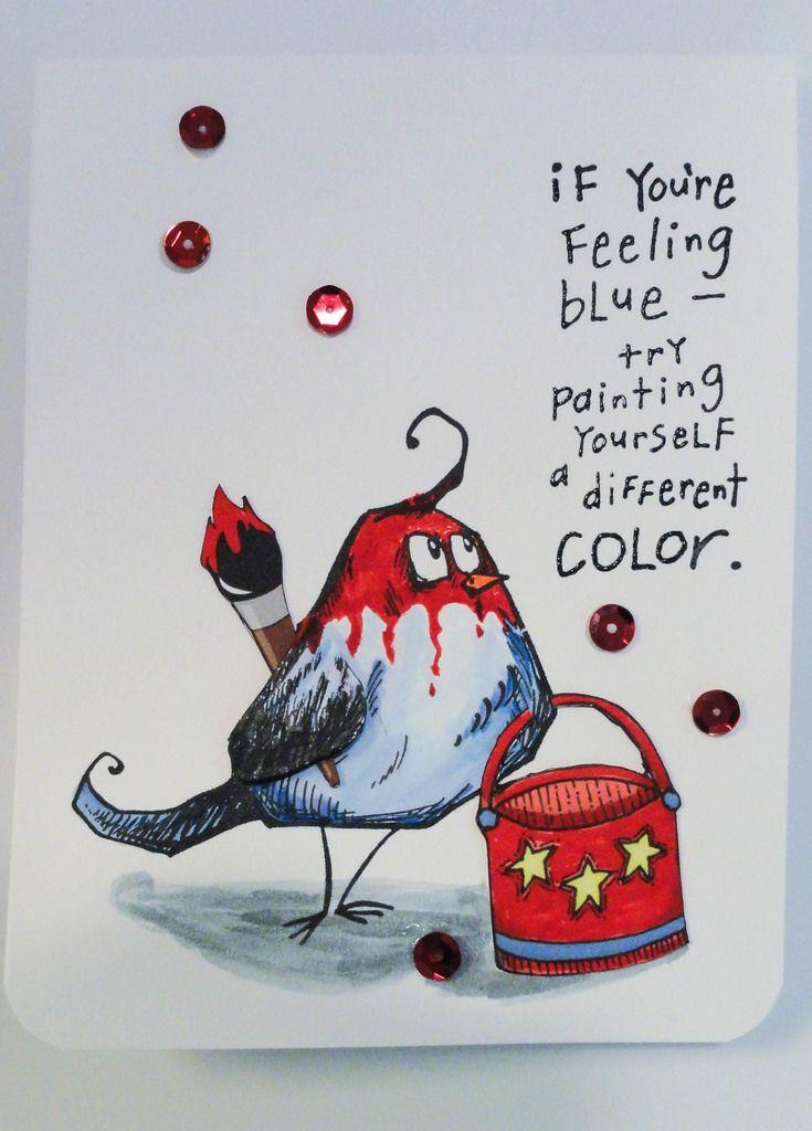 Tim Holtz Bird Crazy stamp set,card created by Diane Williams. (Pin#1: Encouragement. Pin+: Crazies: Birds...).