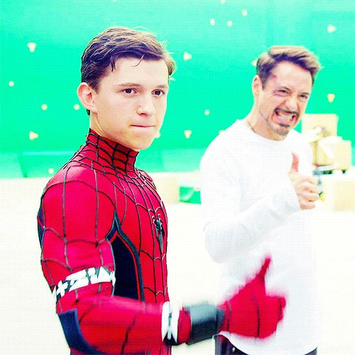 "Tom Holland and Robert Downey Jr. on the set of ""Spider-Man: Homecoming"""