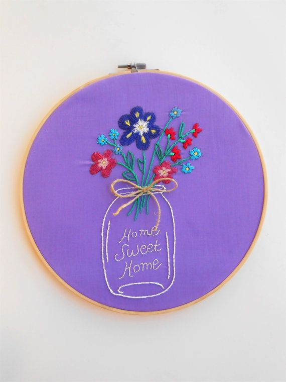embroidery hoop art modern embroidery wall decor home sweet home flowers embroidery unique wall art fiber art quote embroidery perfect gift embroidery hoop art modern embroidery wall decor by CottonCraftArt