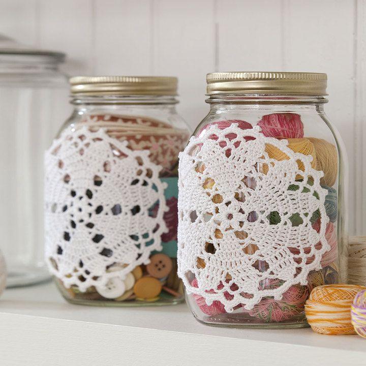 Best Free Crochet » Free Hearts Desire Doily-ed Jars Crochet Pattern from RedHeart.com