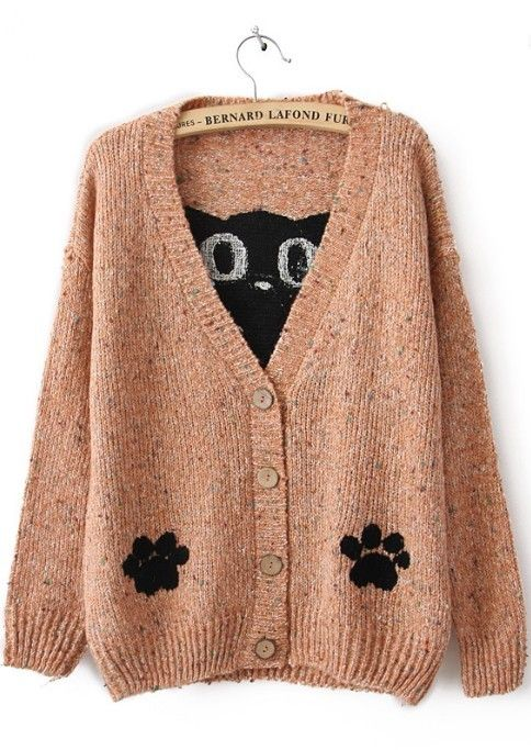 Pink Long Sleeve Cat Print Cardigan Sweater
