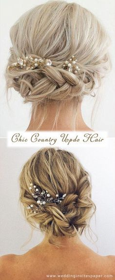 17 Enchanted Rustic Wedding Hairstyles---elegant updo with chic headpieces country wedding ideas.  17 Enchanted Rustic Wedding Hairstyles---elegant up...