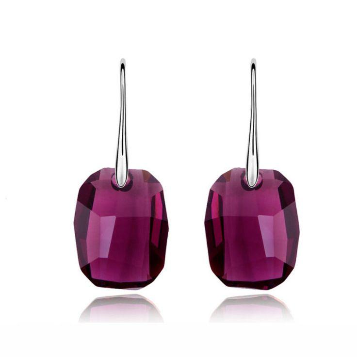 100% Austrian Crystal Rectangle Drop Earrings With Swarovski Elements Women Vintage Jewelry Wedding Earrings good for gift