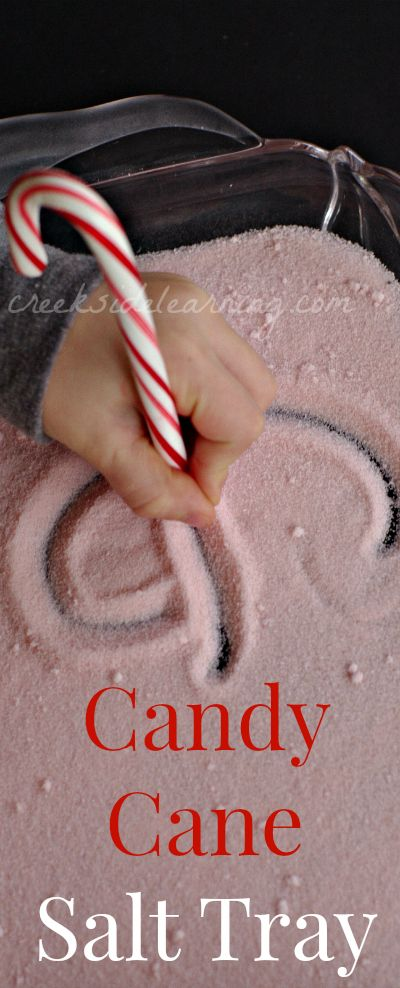 Handwriting practice and cursive practice without worksheets. Easy to make, multi-sensory learning activities. Salt tray with candy cane writing instrument.
