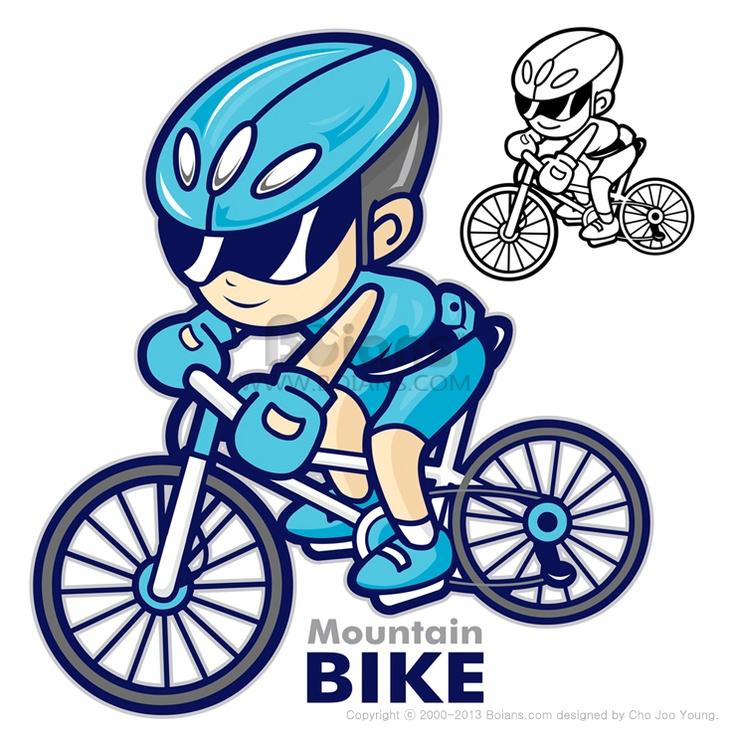 산악 자전거를 타는 남자 마스코트, 자전거로 여행을 가고 았다, 스포츠 캐릭터 디자인 시리즈, (BCDS010498)  Man Mascot riding a mountain bike, Are going to travel by bicycle, Sports Character Design Series, (BCDS010498)  Copyrightⓒ2000-2013 Boians.com designed by Cho Joo Young.