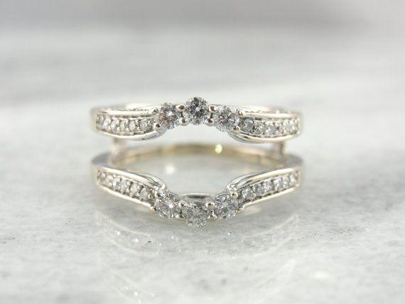 vintage engagement ring enhancer wrap guard jacket bright white gold diamonds