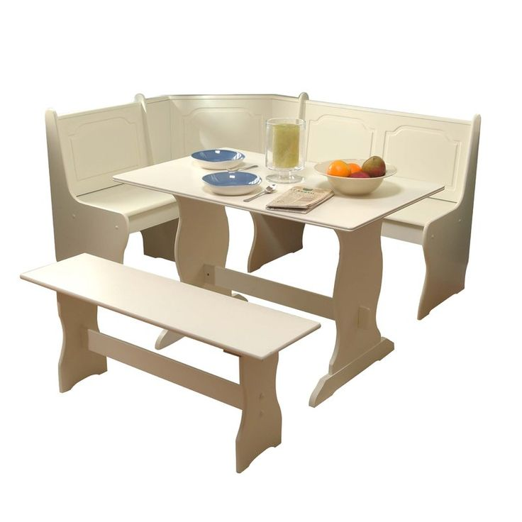 Add a cohesive look to your eat-in kitchen or breakfast nook with this three-piece dining set, crafted from manufactured wood and showcasing a corner side chair, one table, and a dining bench. Its trestle base adds traditional appeal to your decor while its solid finish pairs perfectly with neutral wallpaper for a contrasting look. Lean into this set's transitional influence by adding it to a dining room anchored by a lightly-weathered area rug and illuminated by a polished nickel-hued pe...