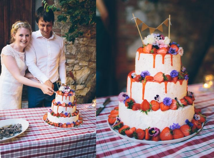 Family style wedding and natural wedding cake with edible flowers