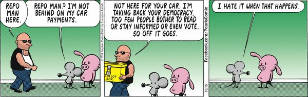 Pearls Before Swine Comic Strip, October 15, 2014 on GoComics.com  A wonderful example of satire.
