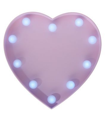 Pink LED Lights Heart Plaque | New Look