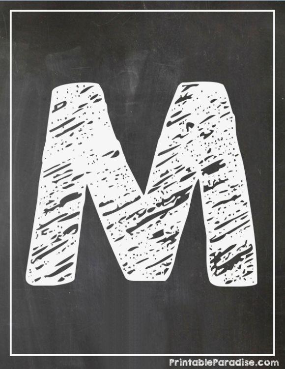 Printable Letter M Chalkboard Writing