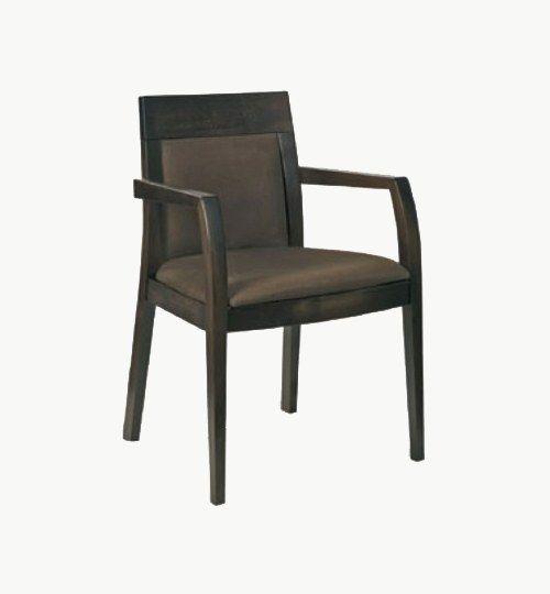 Karmstol med stoppad sits och rygg, många tyger samt träbets att välja på. Ingår i en serie med vanlig stol. Vikt 8,7 kg. Säljs i 2pack (2st). Pris anges (1st). Levereras monterad.  Tyg Lido, 100 % polyester, brandklassad. Tyg Luxury, 100 % polyester, brandklassad. Konstläder Pisa, brandklassad, 88,5% PVC, 11,5% polyester.