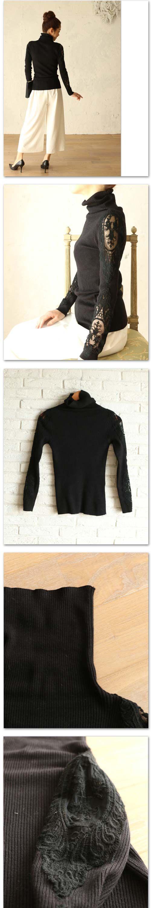 。【再入荷♪1月14日12時&22時より】(ブラック)「french」肩と袖の透けレース。タートルネックカットソートップス上品 / 黒 / レディース / ニット / 刺繍 / リブ