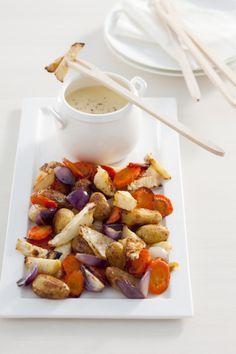 Recept voor kaasfondue met geroosterde wintergroenten