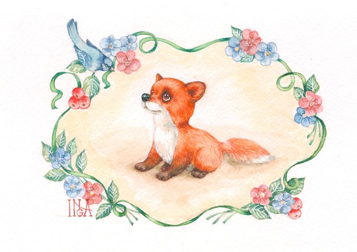 Inga Izmaylova watercolor custom лисичка по мотивам игрушек Ирины Коваленко https://www.instagram.com/inga_izmaylova/