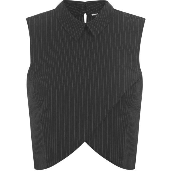 Miss Selfridge Black Pinstripe Collar Shell ($18) ❤ liked on Polyvore featuring tops, shirts, black, black wrap shirt, black sleeveless top, sleeveless tops, shell tops and sleeveless shirts