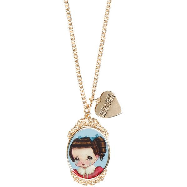 Hot Topic Melanie Martinez Crybaby Cameo Necklace (69 NOK) ❤ liked on Polyvore featuring jewelry, necklaces, accessories, melanie martinez, multi, cameo jewelry, party necklaces, gold tone necklace, gold tone jewelry and cameo necklace