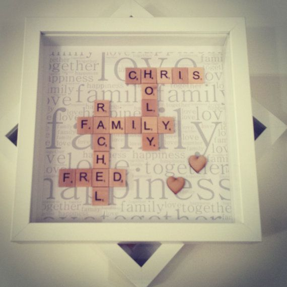 Family Scrabble Wall Art Frame Personalised, family name sign, family portrait, family frame, family print, family photo frame, family sign