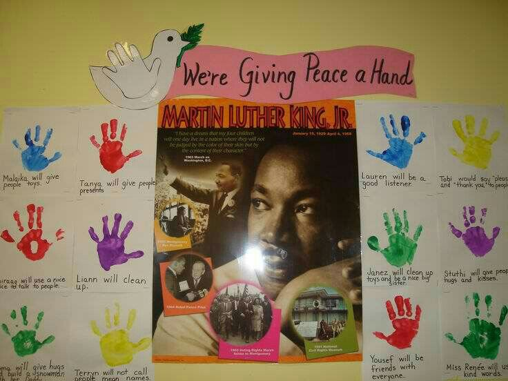 Screen Shot At Pm additionally Martin Luther King Jr Fun Fact Cards moreover E Acb Da D C C B Peace Signs Cover Art in addition Colored Sand Unity Bottle further Edb E Fb Fa E D E C F F Kiddy Pool Martin Luther King Day. on we give a hand for peace mlk day bulletin board