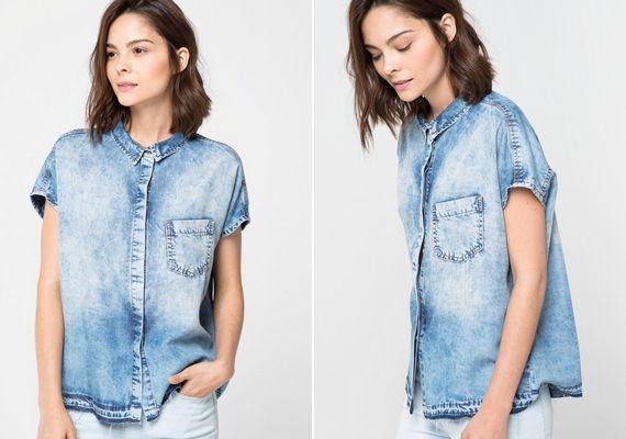 Ha rövid ujjú inget keresel, a Mango 4495 forintos, márványos farmeringe ideális lehet.