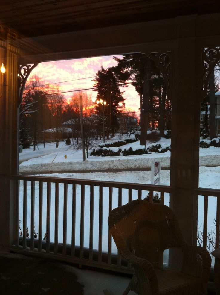 Winter sunrise on the front porch