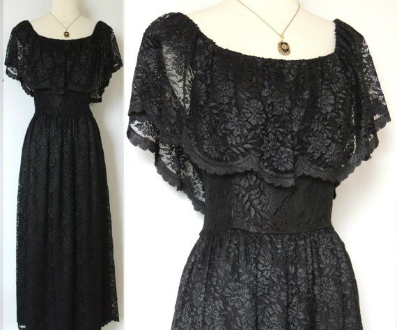 Vintage 70s Lace Dress Mexican Style with Lace Overlay Impeccable