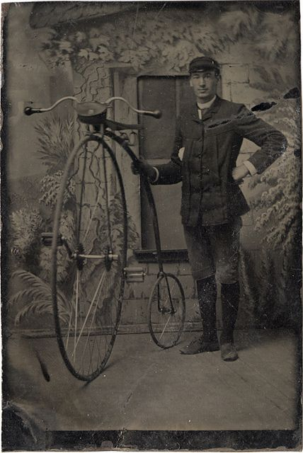 Tintype of a Man with a High Wheel Cycle