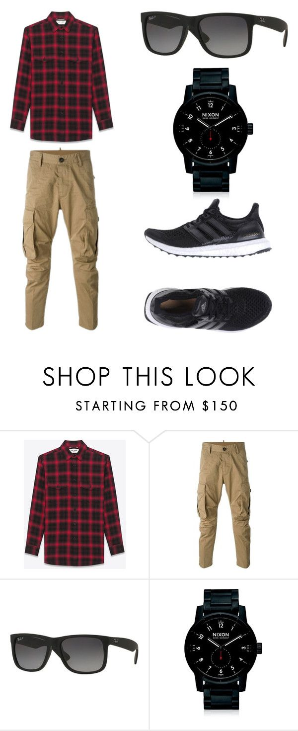 """""""men's outfit"""" by ferranong on Polyvore featuring Yves Saint Laurent, Dsquared2, Ray-Ban, Nixon, adidas, men's fashion and menswear"""