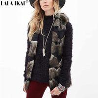 Kadın Kürk Taklit Kürk Yelek Lady Karışık Renk Kış Uzun Kürk Jile Artı Boyutu XXXL Kürk Giyim SWQ015-5