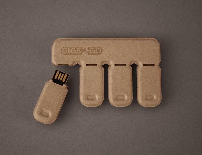 Gigs 2 Go: Tear & Share thumb drive pack made from recycled paper