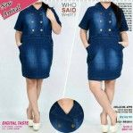 Dress Terbaru Bahan Jeans Button Jumbo Natasya MTFA08
