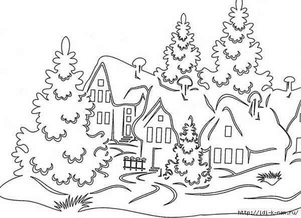 трафареты на окна с деревенскими домами к новому году 2016