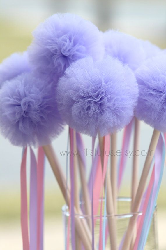 Etsy の RESERVED Ribbon Wands with poms set of 15 by TiTisTuTus