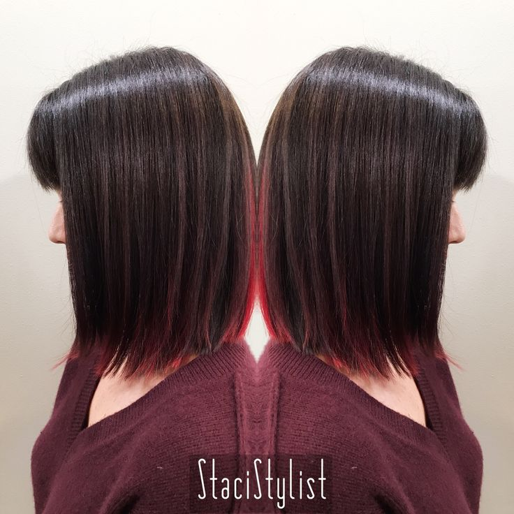 Bright red peekaboo highlights, lob haircut • @stacistylist • Portland, OR